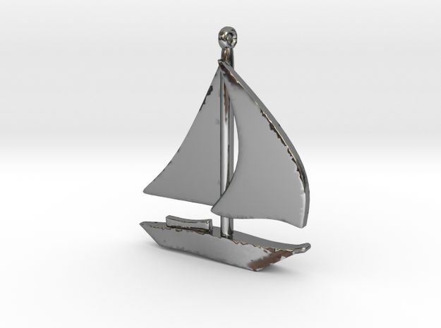 Boat Pendant in Fine Detail Polished Silver