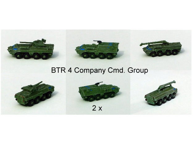 Ukranian APC BTR-4 Company Command Group 1/285 6mm in Smooth Fine Detail Plastic