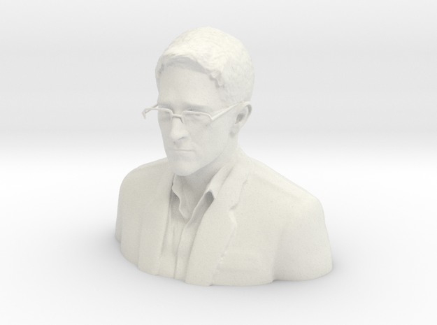 Edward Snowden Desktop Portrait in White Natural Versatile Plastic