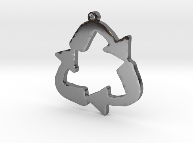 Recycle Symbol Necklace Pendant in Fine Detail Polished Silver