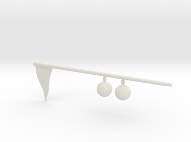 Flag And Balls - WHITE in White Natural Versatile Plastic