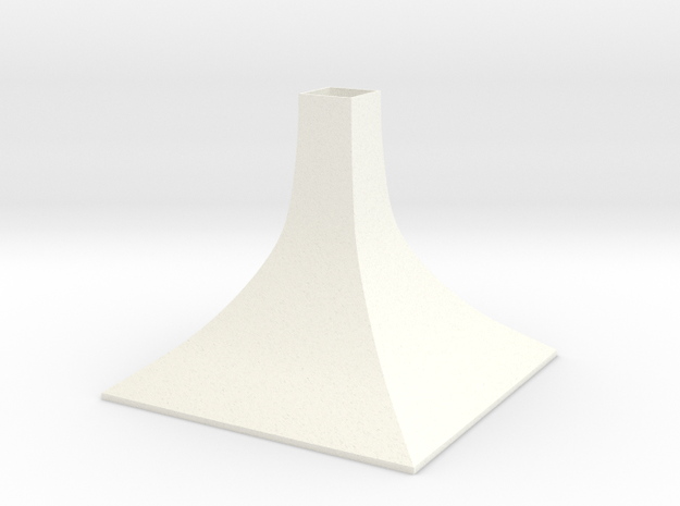 Squared Medium Conical Vase in White Processed Versatile Plastic