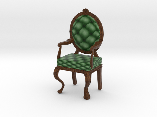 1:24 Half Inch Scale PineDark Oak Louis XVI Chair in Full Color Sandstone
