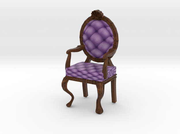 1:48 Quarter Scale LavDark Oak Louis XVI Chair in Full Color Sandstone