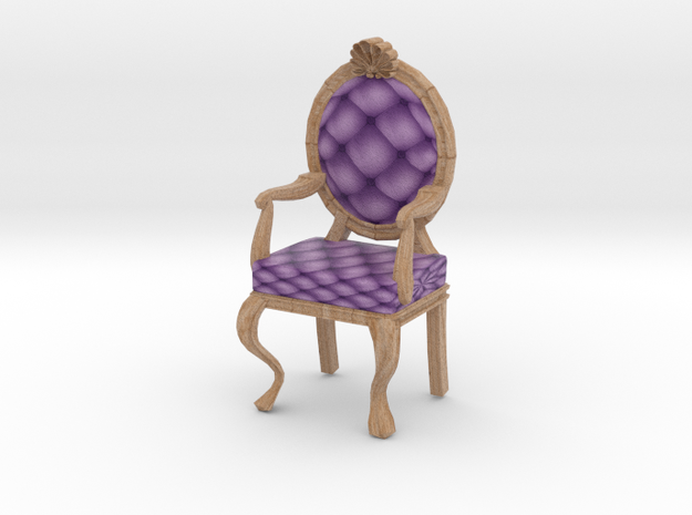 1:48 Quarter Scale LavPale Oak Louis XVI Chair in Full Color Sandstone