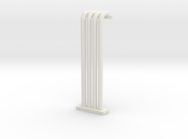N Scale Pipe Rack Riser From Ground To 28mm in White Natural Versatile Plastic