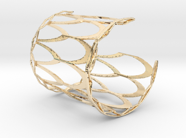 Fish Scale cuff bracelet - wide (sm/med, snug fit) in 14k Gold Plated Brass