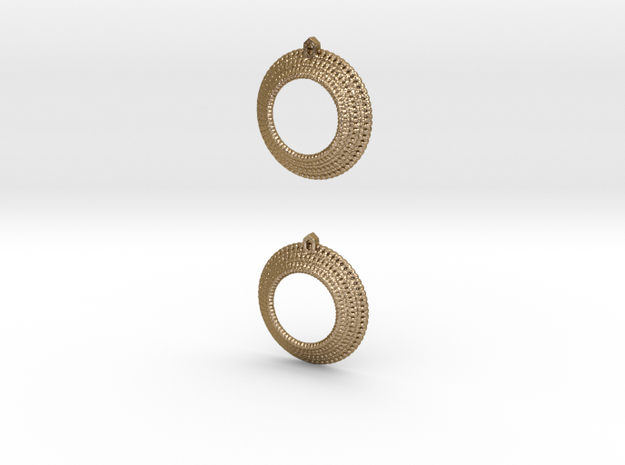 Crochet Earrings (steel and plastic). in Polished Gold Steel