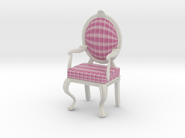 1:12 Scale Pink Plaid/White Louis XVI Chair