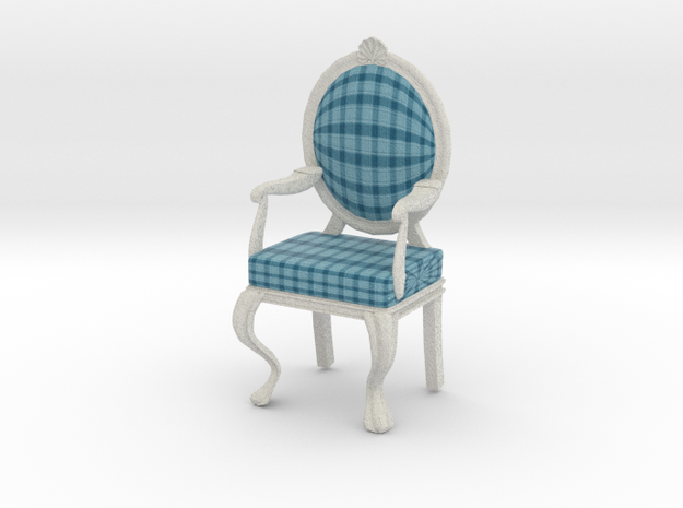 1:12 Scale Acid Blue Plaid/White Louis XVI Chair in Full Color Sandstone