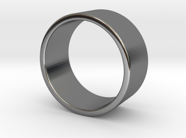 Flat Ring in Fine Detail Polished Silver: 8 / 56.75