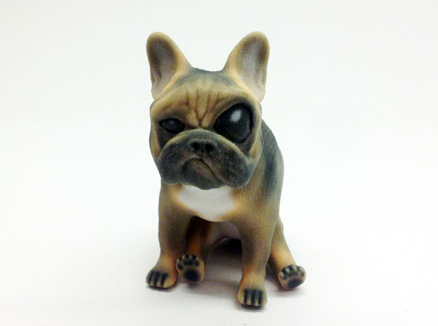 Sitting Brown Big Eye Frenchie  in Full Color Sandstone