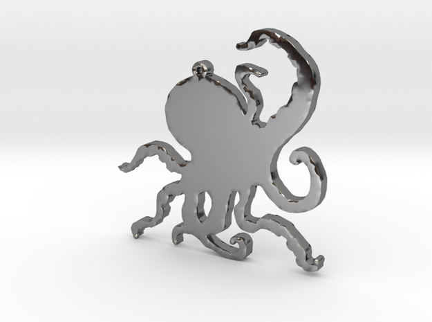 Octopus Necklace Pendant in Fine Detail Polished Silver