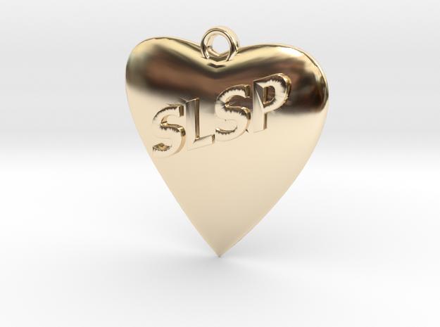 Monogram Heart Pendant in 14k Gold Plated Brass