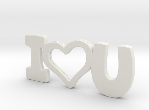 I Love You - Photo Frame in White Natural Versatile Plastic
