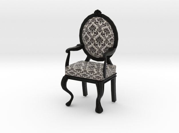 1:12 Scale Black Damask/Black Louis XVI Chair