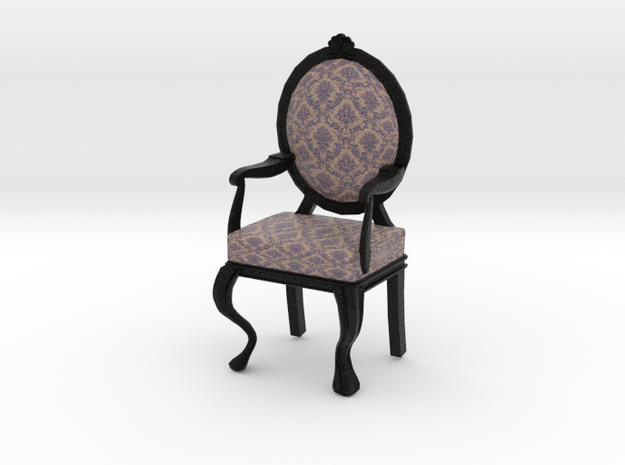 1:12 Scale Purple Damask/Black Louis XVI Chair in Full Color Sandstone