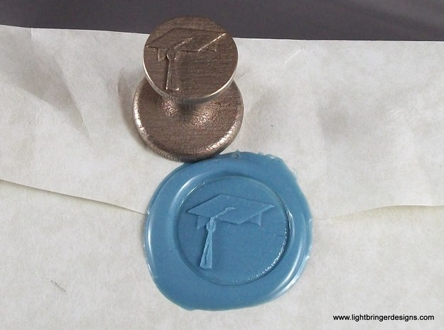 Mortarboard Wax Seal in Polished Bronzed Silver Steel
