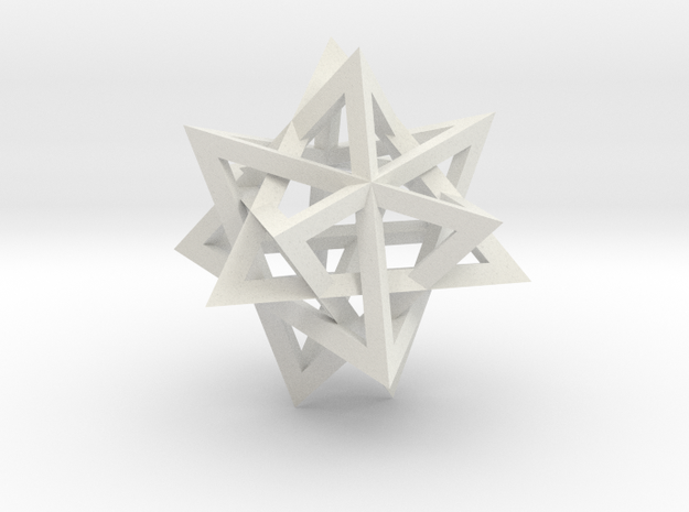 Tetrahedron 4 compound, flat faced struts in White Natural Versatile Plastic