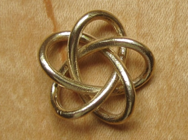 Torus Knot Pendant #1 in Polished Brass