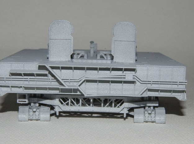 1/400 Shuttle MLP & Crawler, launch pad 3d printed End elevation showing MLP catwalks, towers, pipework, & the Crawler framework & drive units. Primer-grey finish. Please note, I've added extra support to prevent pipe warping on future models.