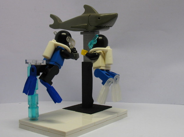 Minifig Splitfins with angled blade 3d printed Divers with Splitfins and Shark Monument
