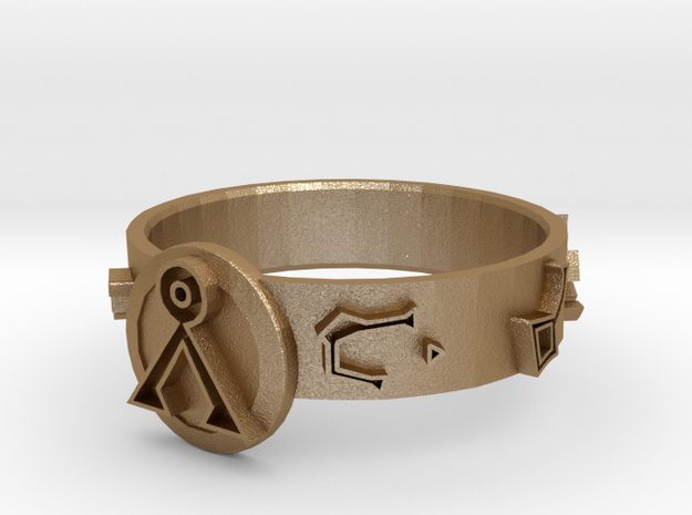 Stargate Dial Home Ring (size S) in Matte Gold Steel