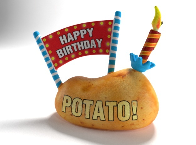 Happy Birthday - Have a Potato! in Full Color Sandstone