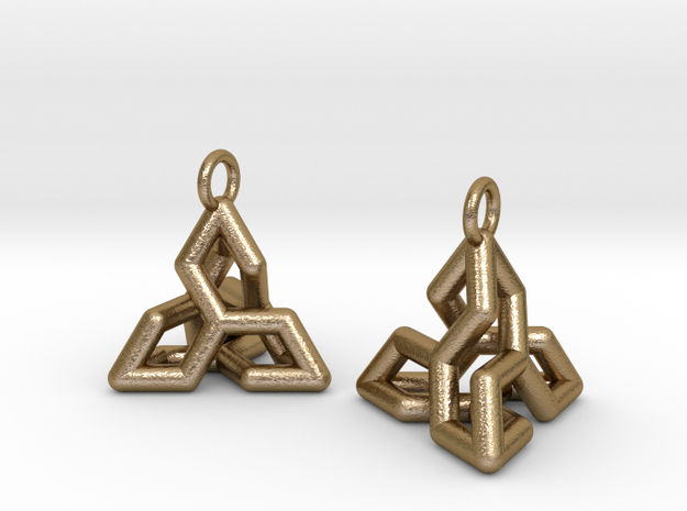 Ear-Rings-04 in Polished Gold Steel
