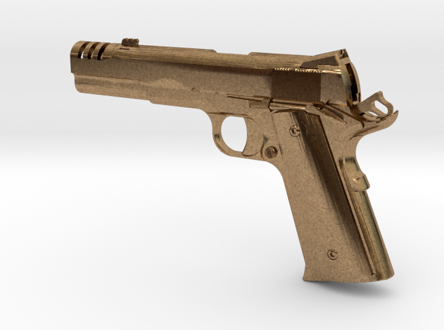1:12 scale 1911 pistol with compensator in Natural Brass