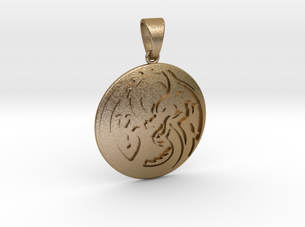 Dragon Pendant in Polished Gold Steel