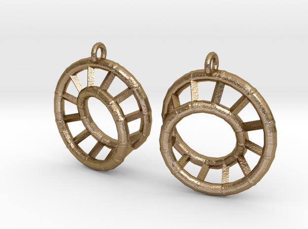 Ear-Rings-03 in Polished Gold Steel