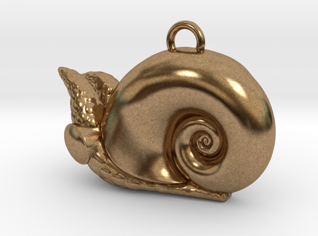 New Zealand Powliphanta  charm in Natural Brass