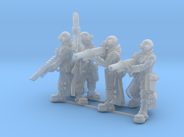 Female Stealth Gang with Laser Rifles in Smooth Fine Detail Plastic