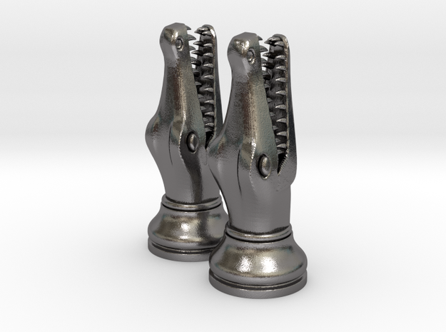 Pair Chess Crocodile Big / Timur Luxm Sea-Monster in Polished Nickel Steel