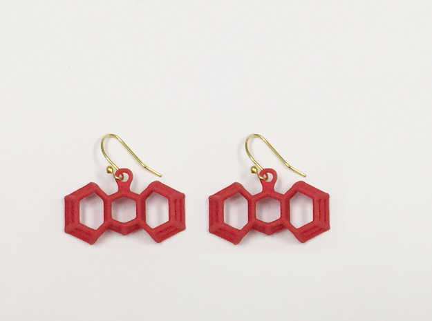 3D Printed Wired Bow Earrings (Smaller Size) in Red Processed Versatile Plastic