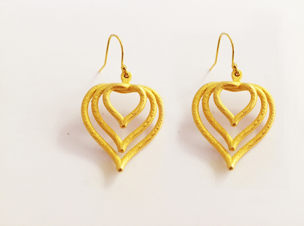 3D Printed Wired Love Yourself Heart Earrings in Pink Strong & Flexible Polished