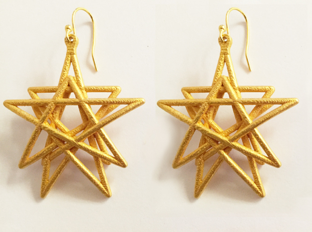 Reach for the Stars Earrings in Polished Gold Steel