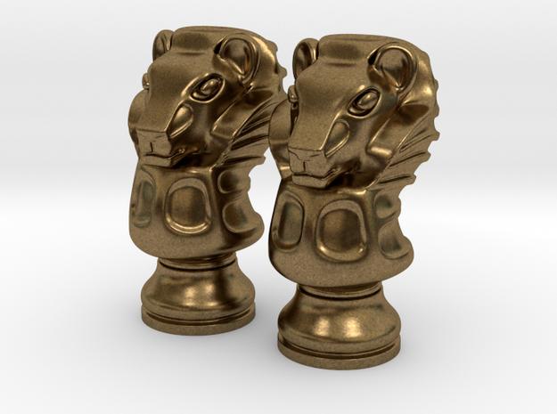 Pair Lion Chess Big / Timur Asad Piece in Natural Bronze