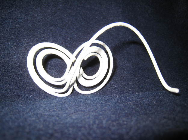 Lorenz Butterfly (Lorenz Attractor) in White Natural Versatile Plastic