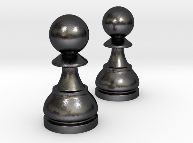 Pair Pawn Chess / Timur Pawn of Pawns in Polished and Bronzed Black Steel