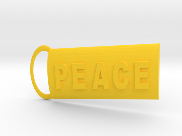 Peace Keyring in Yellow Strong & Flexible Polished