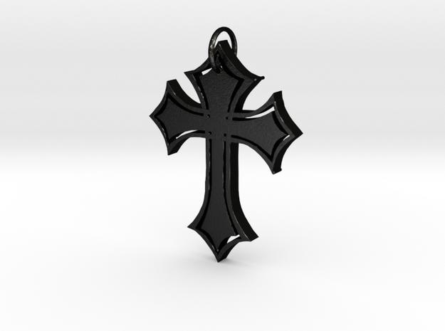 Christian Cross Pendant in Matte Black Steel