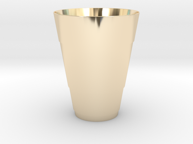 Gold Beer Pong Cup in 14k Gold Plated Brass