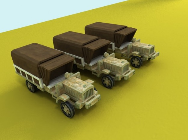 6mm WW1 light trucks (3) With tent in Smoothest Fine Detail Plastic