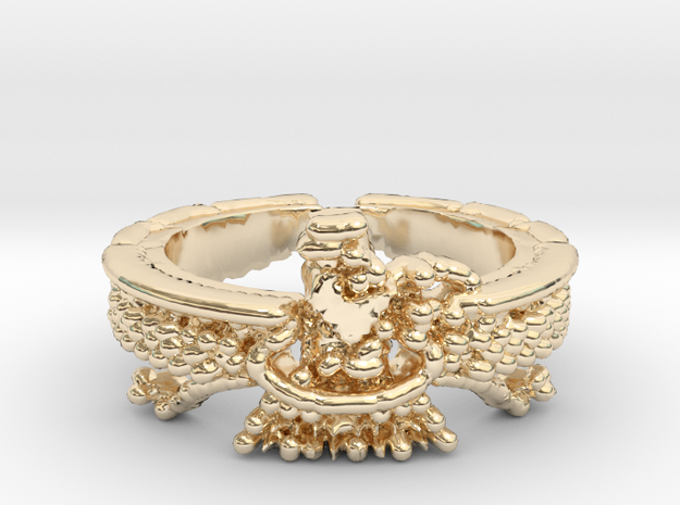 Farvahar Inspired Ring, Persian Art, Ring Size 7 in 14k Gold Plated Brass