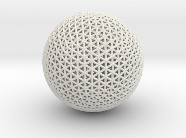 Space frame sphere tiny in White Natural Versatile Plastic