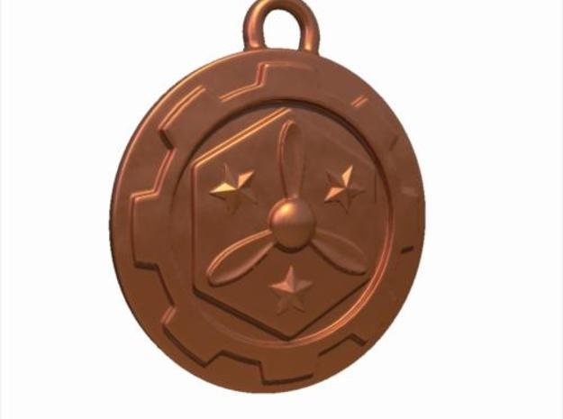 Steampunk Airship Medallion in Polished Bronze Steel