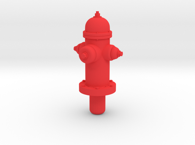 Fire Hydrant - 'G' Scale 22.5:1  in Red Processed Versatile Plastic