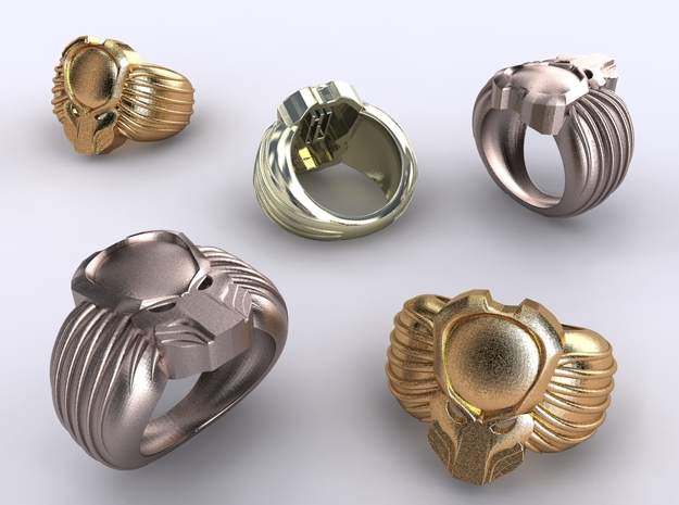 Predator Ring 3d printed Stainless Steel, Gold Plated Matte & Premium Silver renders